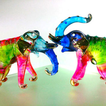 2 Elephants Hand Painted Pink Yellow Green Blue Blown Glass Art Gold Trim Figurine Animal Collection/Gift/Decor