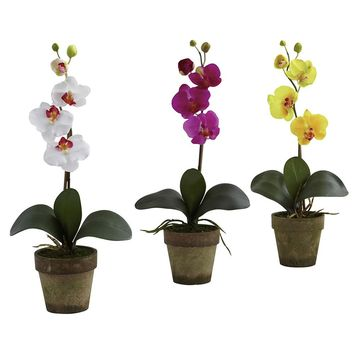 Silk Flowers -Potted Phalaenopsis -Set Of 3 Arrangement Artificial Plant