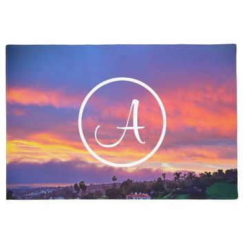 Pink & blue sunrise photo custom monogram doormat