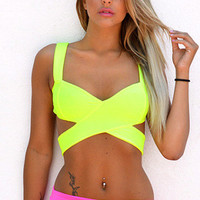 Spaghetti Strap Cross Wrap Skinny Sexy Backless Crop Top