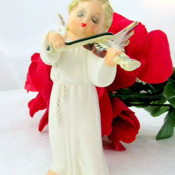 1950s Girl Christmas Angel Signed Glazed Ceramic Playing Violin White Figurine Vintage Collectible Gift Item 1844F