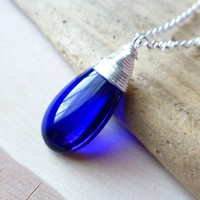 Ocean Cobalt Blue Glass Teardrop Necklace, Smooth Blue Wire Wrapped Glass Pendant, Beach Wedding, Navy Blue, Christmas Gift, Gift for Her