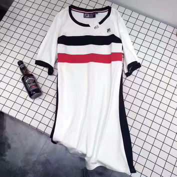 FILA  Fashion Casual Contracted Black White Splicing Round Neck Short Sleeve Dress G-A-GHSY-1