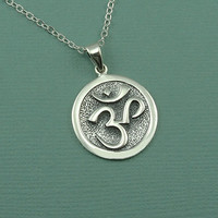 Om Necklace - sterling silver om pendant charm - ohm jewelry - zen jewelry - yoga necklace