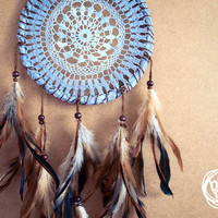 Dream Catcher - Antique Nights - With Hand dyed Blue Crochet Web and Natural Brown Feathers - Home Decor, Nursery Mobile