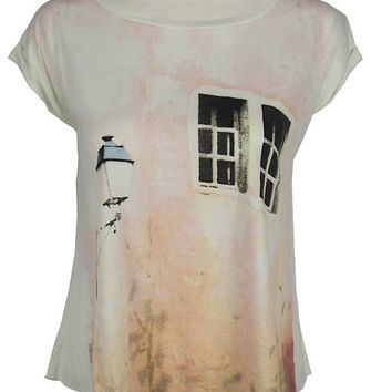 Window to your heart print top shirt womens ladies tshirt