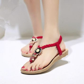 US SIZE Women Sandals Ankle-Strap Shoes Women Flat Sandals Summer Shoes Bowtie Sandali