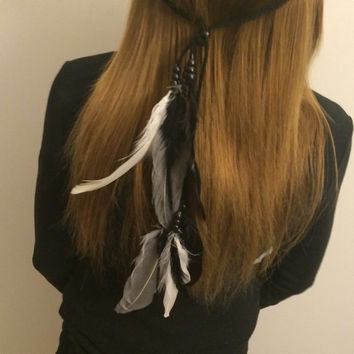 Black, white, gray Tribal Headband Native American, Feather Headband, Feather hair comb, bridal hair comb, feather extension, feather clip,
