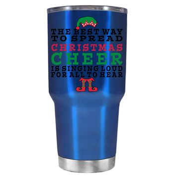 TREK The Best Way to Spread Christmas Cheer on Translucent Blue 30 oz Tumbler Cup