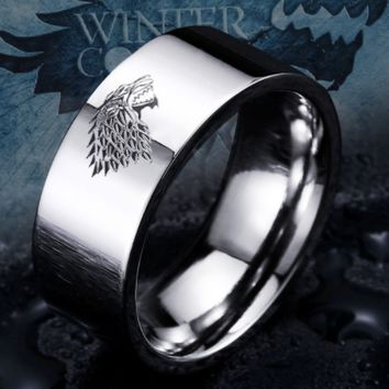 Stainless Steel Game of Thrones ice wolf House Stark of Winterfell men ring