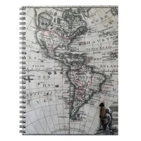 Old Map of North & South America 1770 Notebook