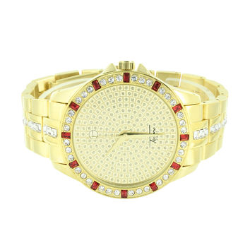 Gold Finish Watch Red Ruby Look Princess Cut