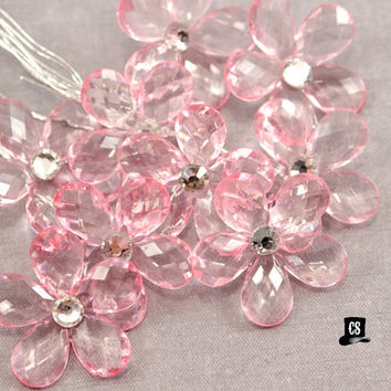 Crystal Flowers - Pink - 9 pcs Large - Rhinestone - wedding party favor, quineranera, sweet 16, gift wrapping