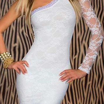 White Cut Out Oblique Shoulder Round Neck Long Sleeve Mini Dress