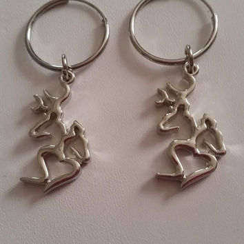 Silver Filled Hoop Earrings with Silver Browning Deer Head Charms Couple Charms Buck and Doe Charms Hunter Hunting Camouflage Camo
