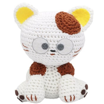 White-Yellow Cats Handmade Amigurumi Stuffed Toy Knit Crochet Doll VAC