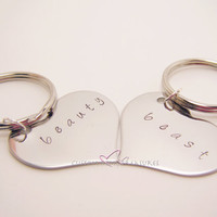 Beauty Beast Stamped Heart Keychains