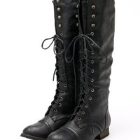 Outlaw 13 Women Military Lace Up Knee High Combat Boot Black