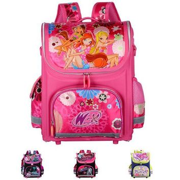 ICIKM2 Orthopedic Children School Bags For Girls New 2016 Kids Backpack Monster High WINX Book Bag Princess Schoolbags Mochila Escolar
