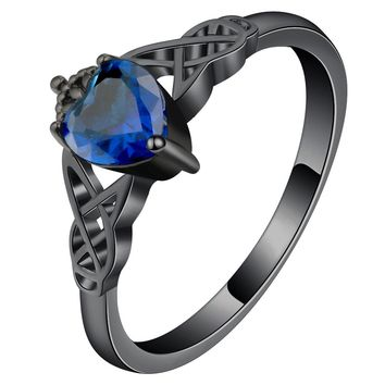 Celtic Sapphire/Emerald Knot Ring