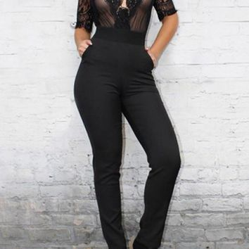 Black Patchwork Lace Grenadine Cut Out Plunging Neckline Fashion Long Jumpsuit