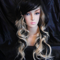 SHOP-WIDE SALE Raven / Blonde and Black / Long Wavy Layered Wig