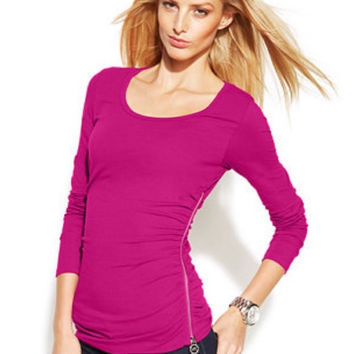 Michael Kors Zip Faux Wrap Pink Top P/M