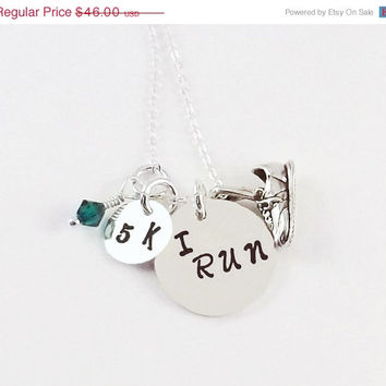 On Sale Sterling Silver Hand Stamped I RUN Charm Necklace, Running Charm Necklace with Swarovski Crystal Birthstone and Sterling Silver Runn