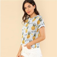 Round Neck  Fruit Print Short Sleeve Tee