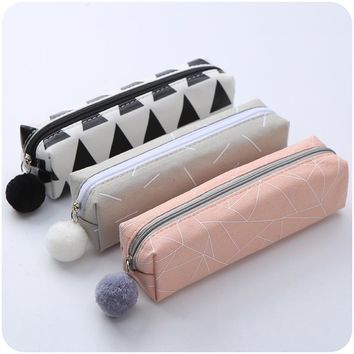 Cute Pencil Case School for Boy Girls Canvas Kawaii Penal Pen Bag Large Hairball Pencilcase Box Stationery Makeup Pouch Supplies