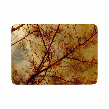 "Sylvia Coomes ""Gothic Red Tree"" Gold Nature Memory Foam Bath Mat"