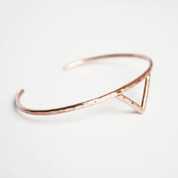 Gold Fill Spike Cuff, Thin Gold Bracelet, Spike Bracelet, Triangle cuff