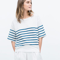 Striped velour t-shirt