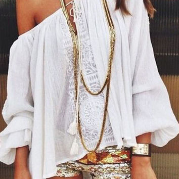 White Off Shoulder Lace Tie Front Long Sleeve Blouse