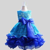 Girl's Lace Bow Flower Girl Gown, Formal Party Dress