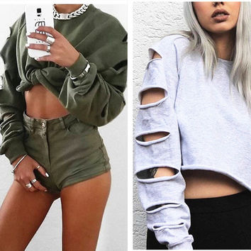 Fashion Casual Irregular Ripped Hollow Long Sleeve Round Neck Sweater Crop Top