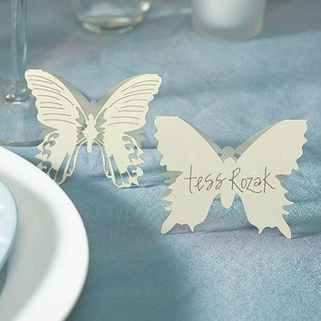 Laser Expressions Butterfly Folded Place Card - Ivory (Pack of 12)