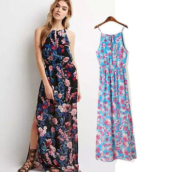Women's Fashion Bohemia Floral Split Chiffon Prom Dress One Piece Dress [5013167108]