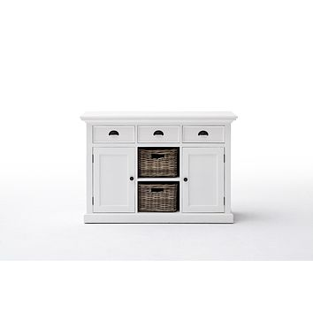 Halifax Buffet with 2 baskets White semi-glosspaint with a smooth top coat