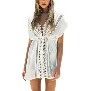 Summer Sexy Hollow Floral Lace Dress Woman Embroidered Crochet Beach Dresses Hippie Short Dress