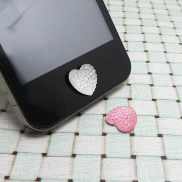 Romantic Sparkly Bling White Pink Love Heart Shape by Polaris798