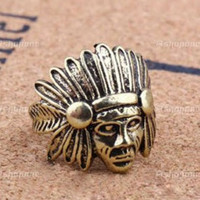 Indian Chief Feather Headdress Metal Tribal Ring by GlitternLace