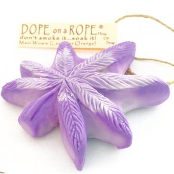 Maui Wowie Dope on a Rope - Lavender & Orange Pot Leaf shaped Soap on a Rope