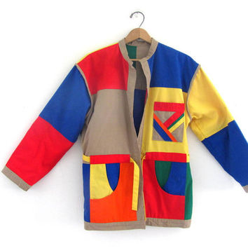 vintage colorblock coat. color block reversible jacket. women's club kid spring jacket.