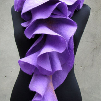 Long ruffle felted scarf Jabot Neck warmer Lilac flower by ProninA