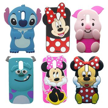 For Motorola Moto G4 Plus Case 3D Cartoon Silicone Sulley Stitch Pig  Mouse Mobile Phone Shell Cover For Moto G4 / G4 Plus