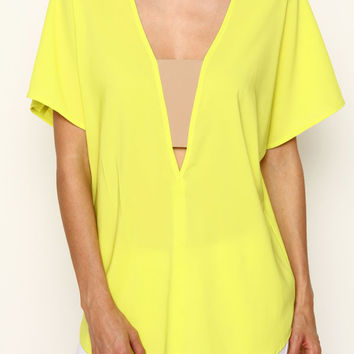 Yellow V-Neck Casual Top