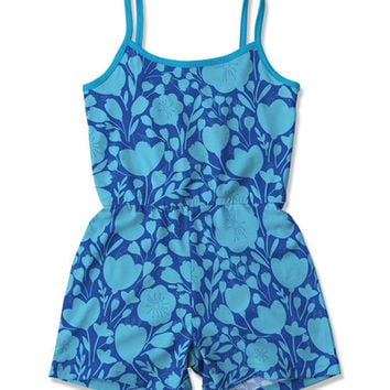 Navy & Turquoise Floral Romper - Toddler & Girls