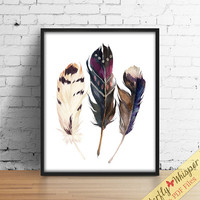 Boho printable watercolor feathers wall art print, Hippie wall art print boho chic painting print wall decor, boho print, printable wall art
