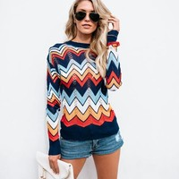 Margarite Zig Zag Light Knit Sweater